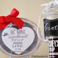 Dollar tree valentine tray display with free printable
