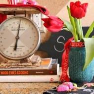 Valentine mason jar with rit dye
