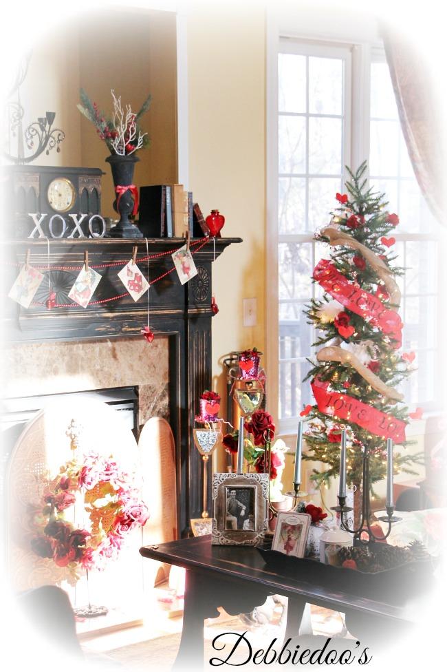 Warm winter Valentine's family room