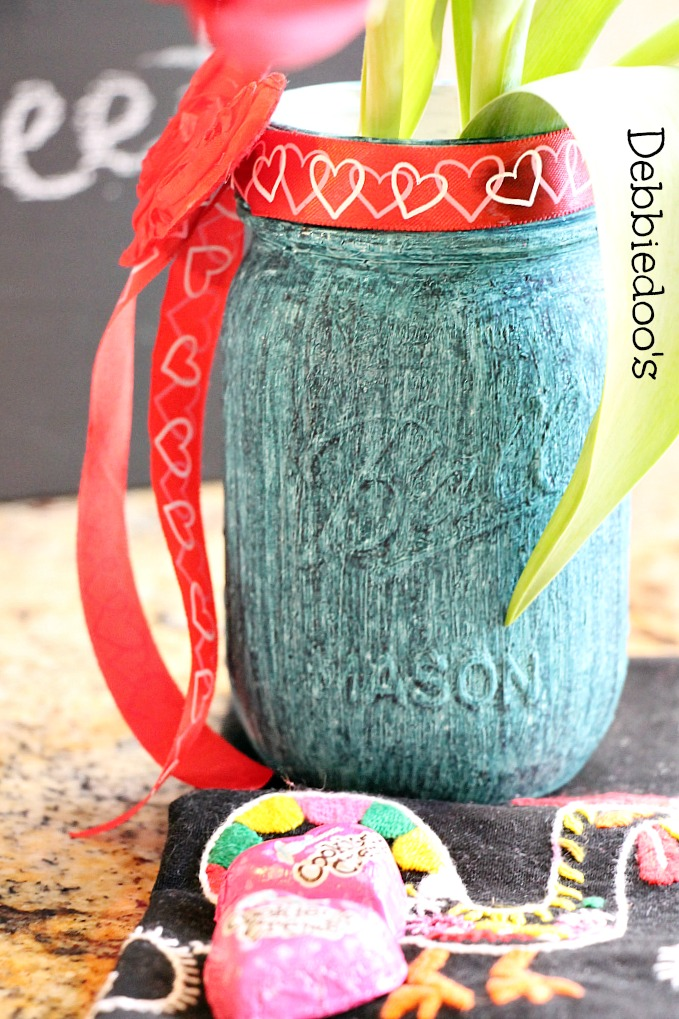chalk-paint and rit dye mason jar