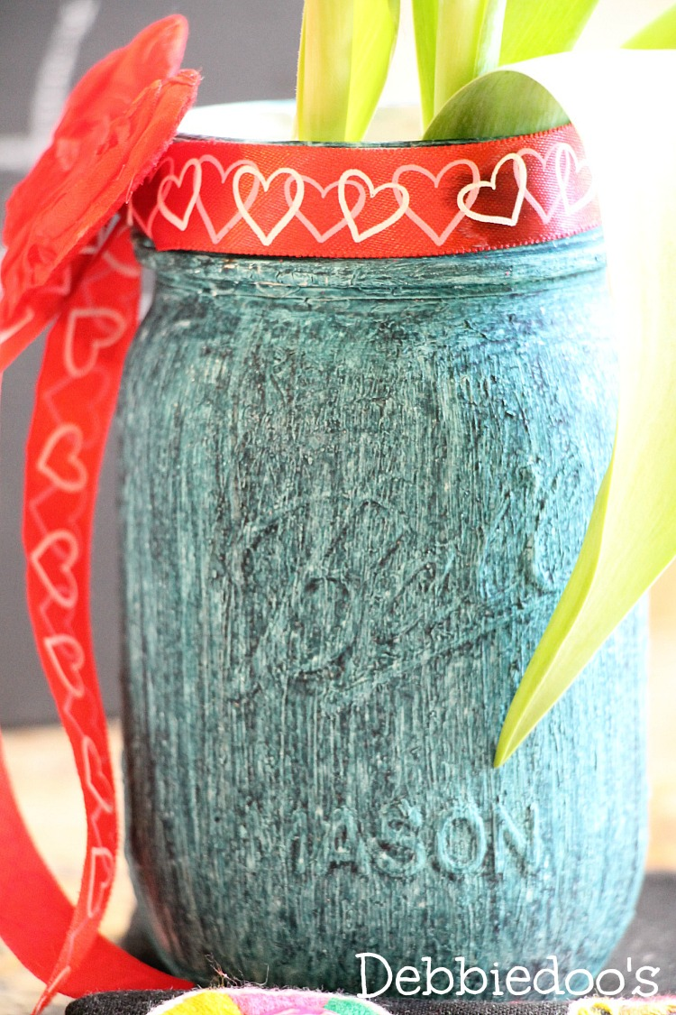mason jar with chalky paint and rit dye