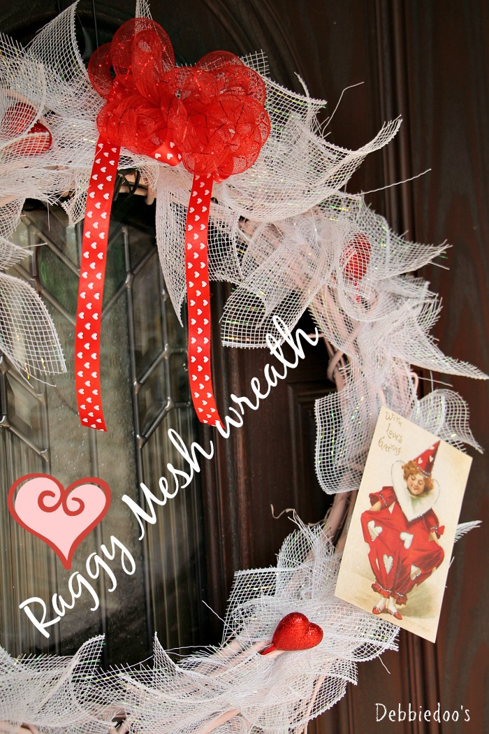 Mesh wreath for Valentines day