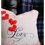 How to make a no sew drop cloth Valentine pillow