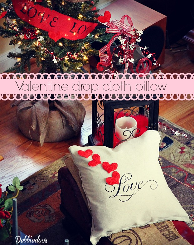 valentine pillow out of drop cloth