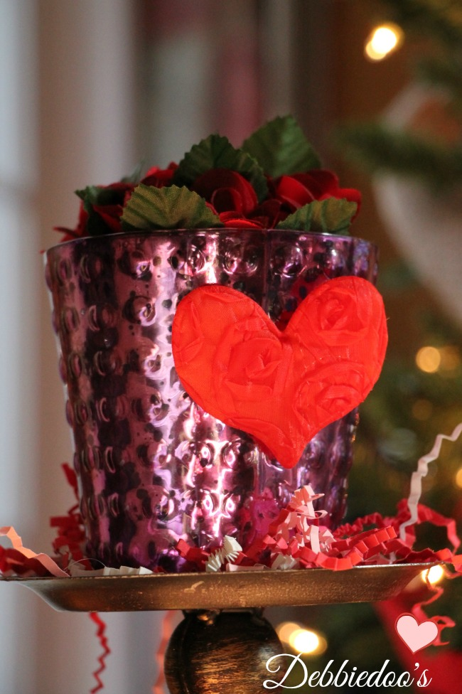 vignettes and valentines decor in the family room