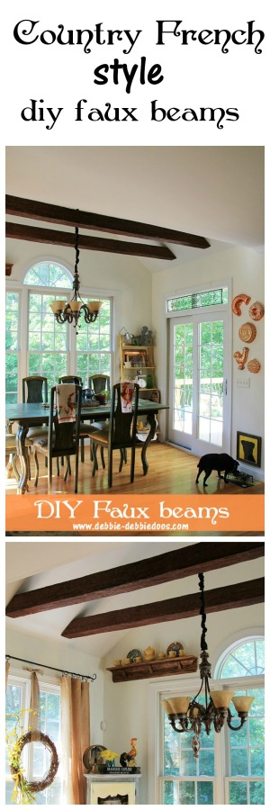 Country French style kitchen with diy faux beams