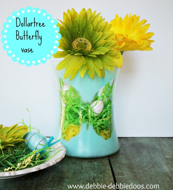 Dollar tree spray painted vase with foam butterfly