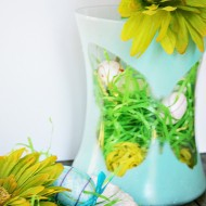 Dollar tree spray painted vase with foam butterfly silhoutte 016
