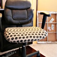 How to reupholster a desk chair with burlap