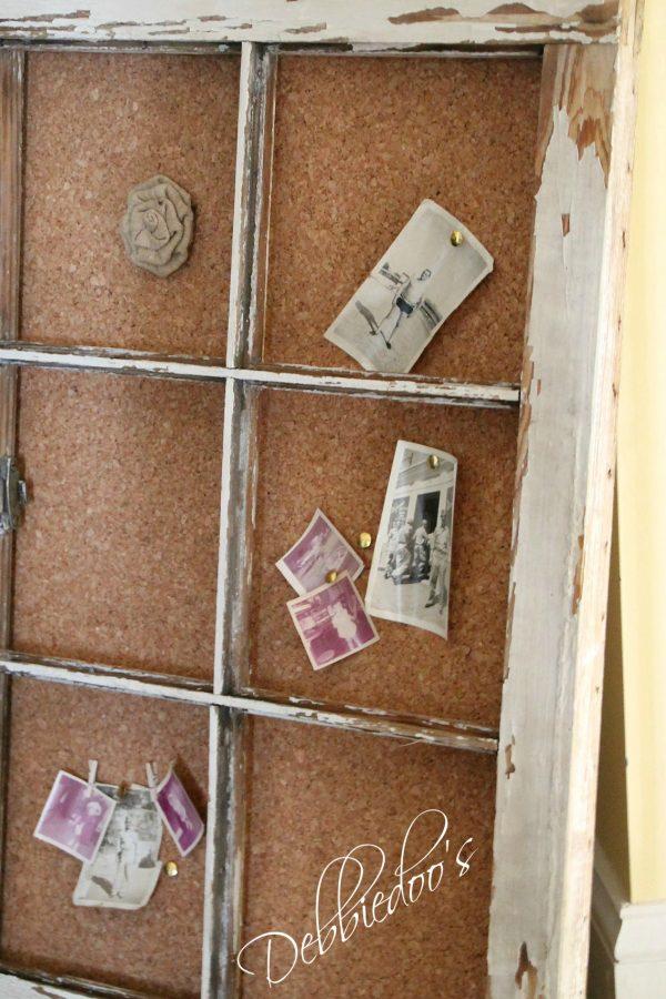 Old chippy window turned bullet board