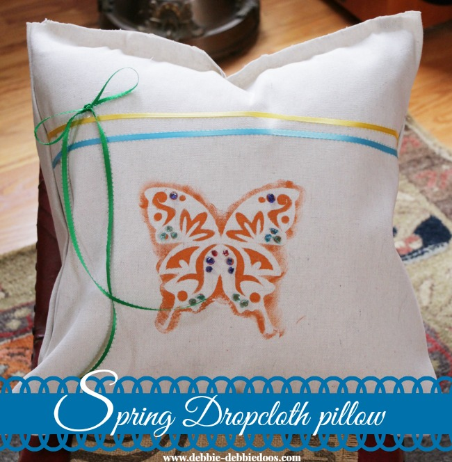 Spring drop cloth pillow