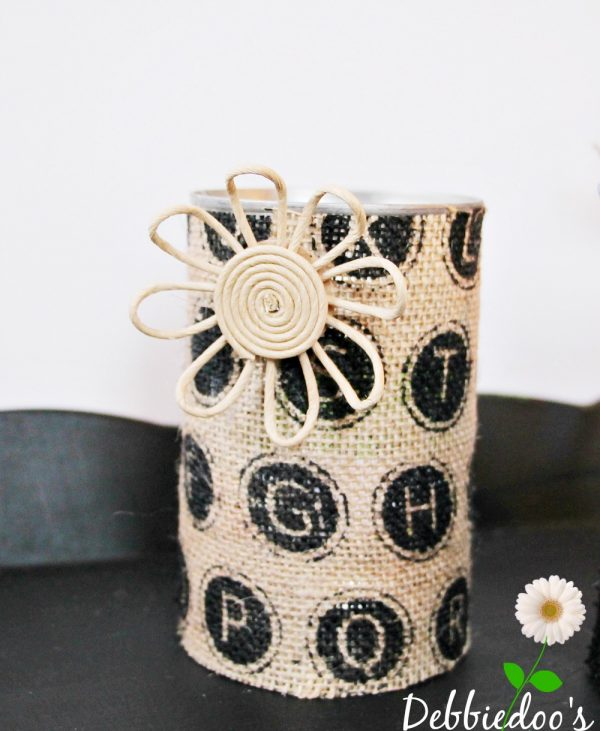 #burlap embellished #recycled can office supply holders