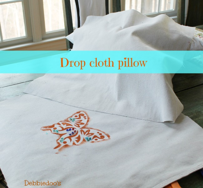diy drop cloth spring pillow no sew