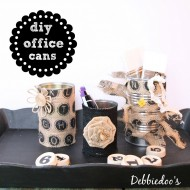 Diy office recycled can caddy with burlap
