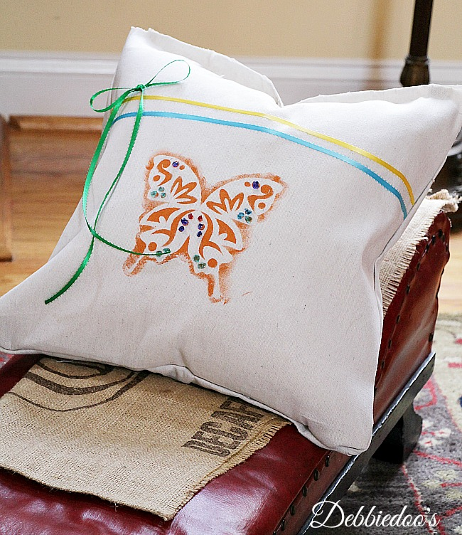 drop cloth pillow for Spring