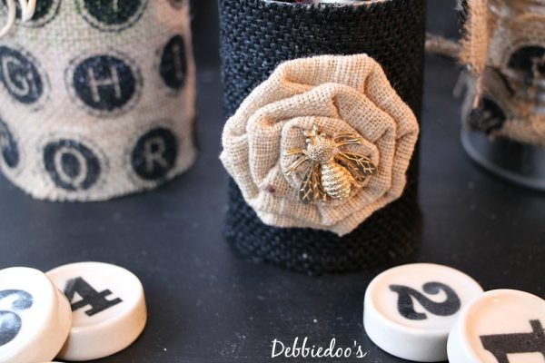 office cans with #burlap #recycle