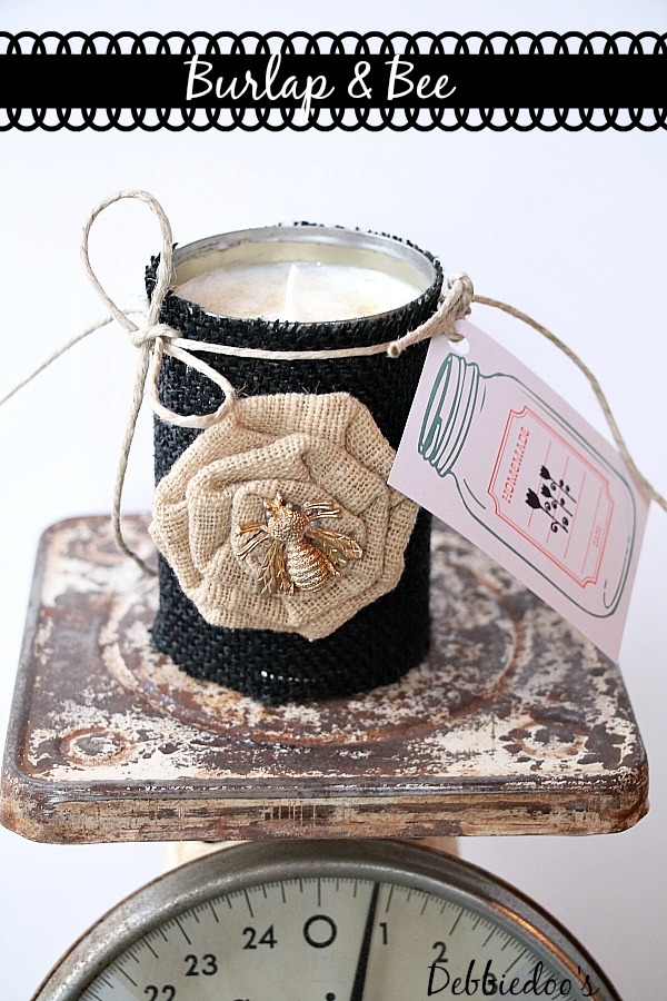 Burlap and Bee soy can candle