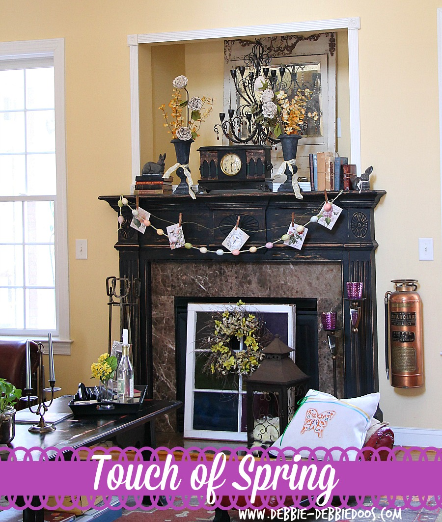 Decorating-for-Spring-Mantel Simple Spring mantel in the South