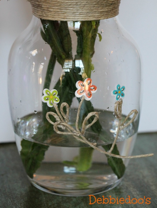Dollar tree spring vase with stickers and twine