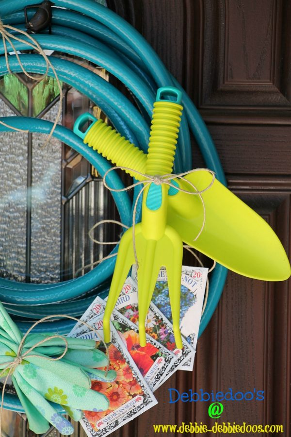 Garden wreath out of garden hose