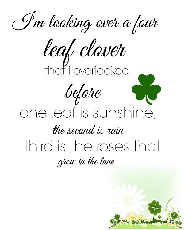 I'm looking over a four leaf clover