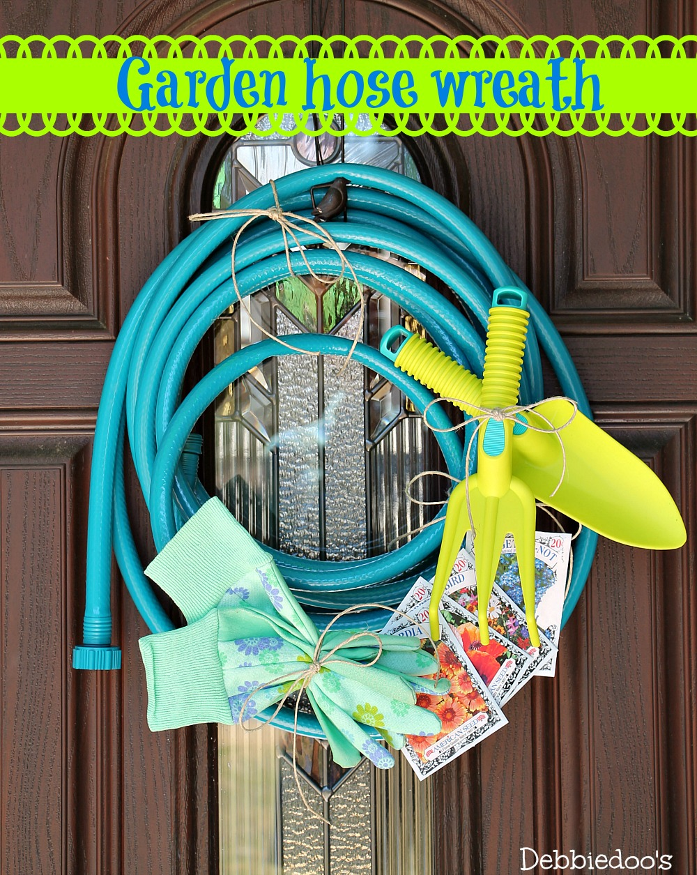 Spray painted garden hose wreath
