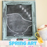 Spring art on a foam chalk board