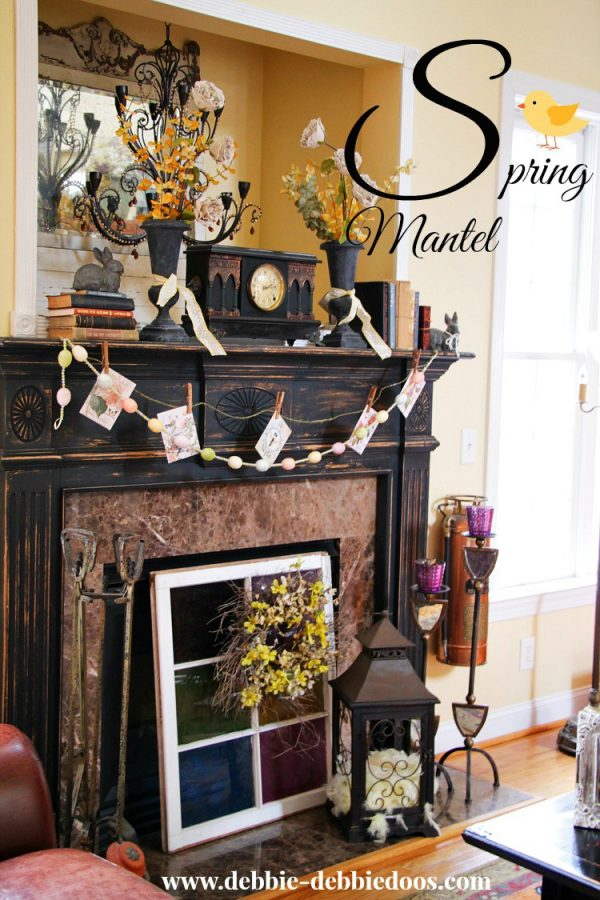 Spring mantel in Carolina Rustic home