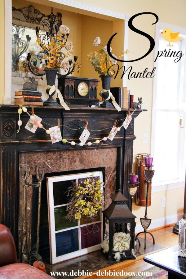 Spring mantel in Carolina Rustic home