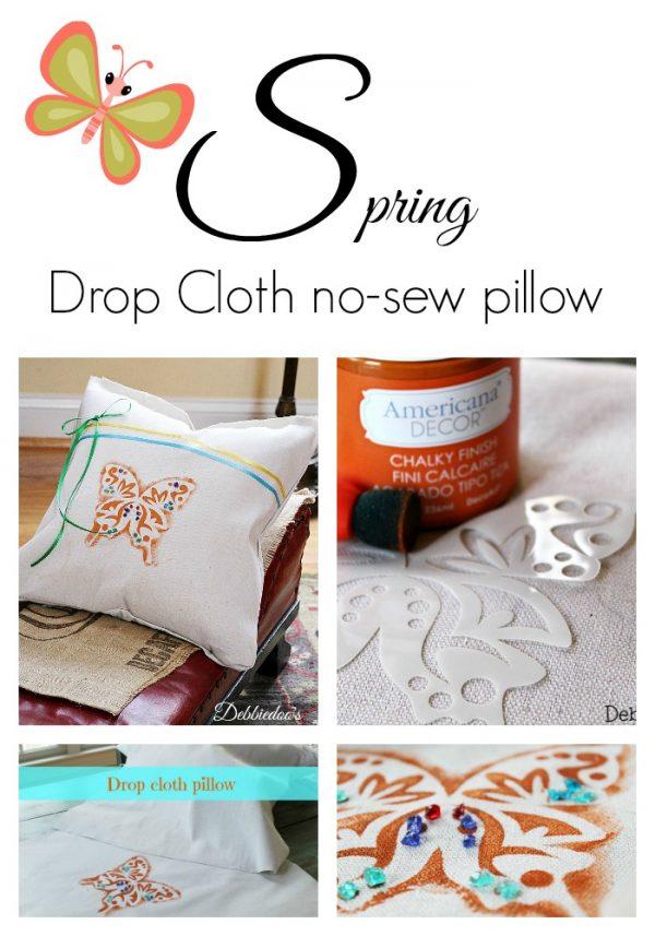 Spring no-sew drop cloth pillow