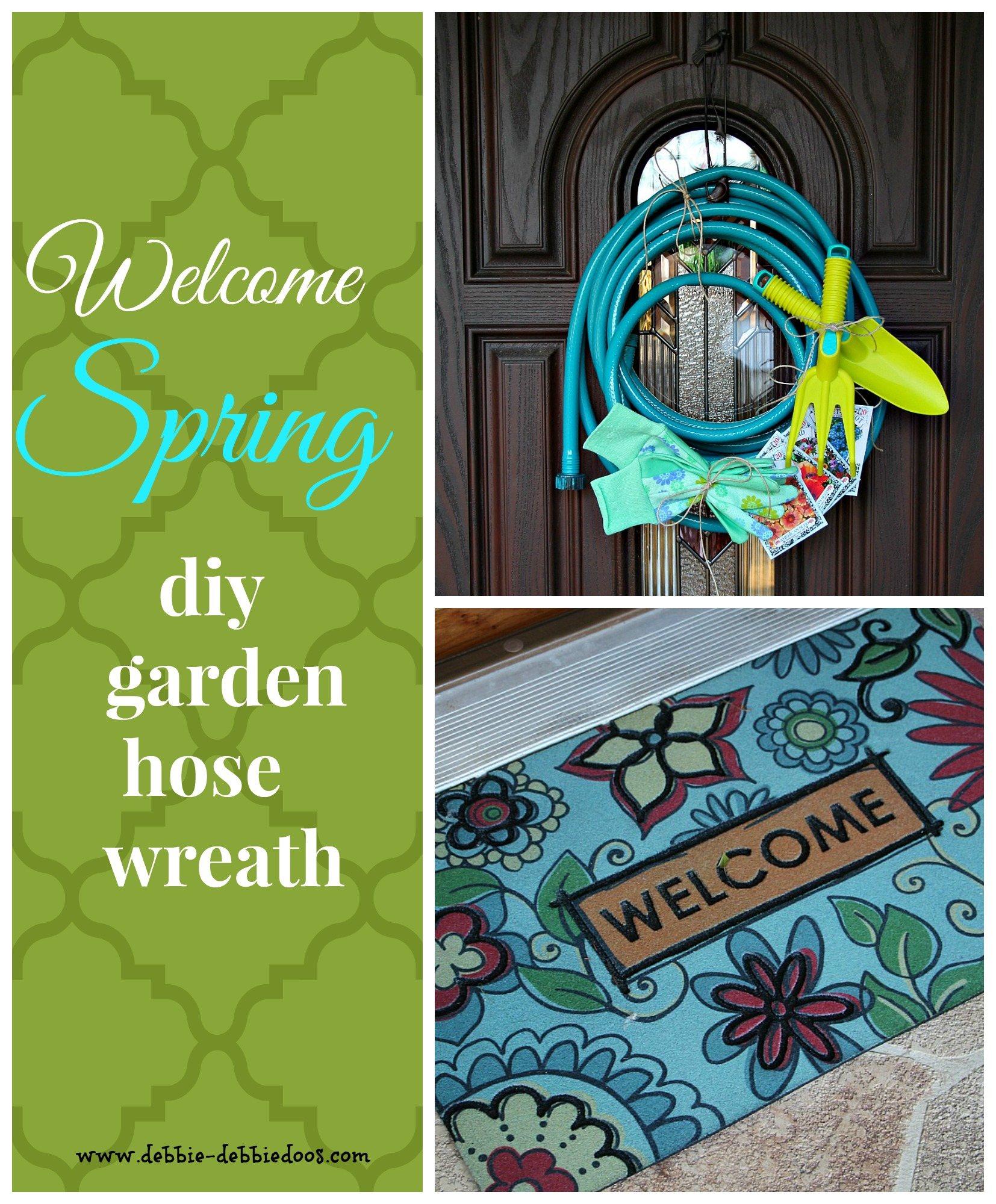Spring welcome garden hose wreath
