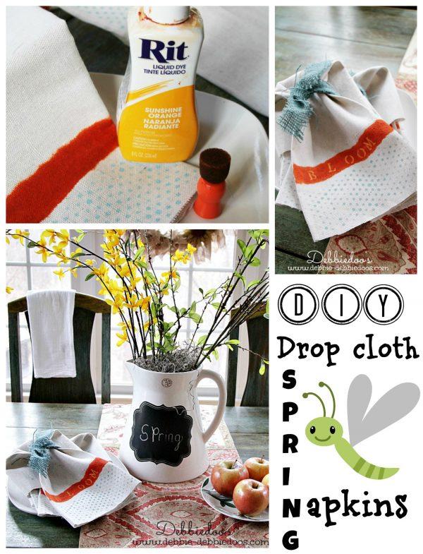 diy drop cloth Spring napkins with Rit dye and polka dot stencil