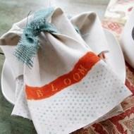 Diy Drop cloth Spring polka dot napkins