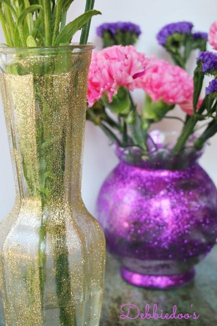 Dollar Tree Glitter Vases Debbiedoos