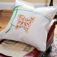 Spring drop cloth no sew pillow