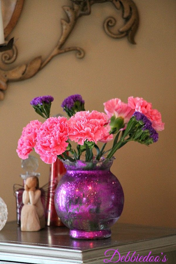 glittered dollar tree vase purple