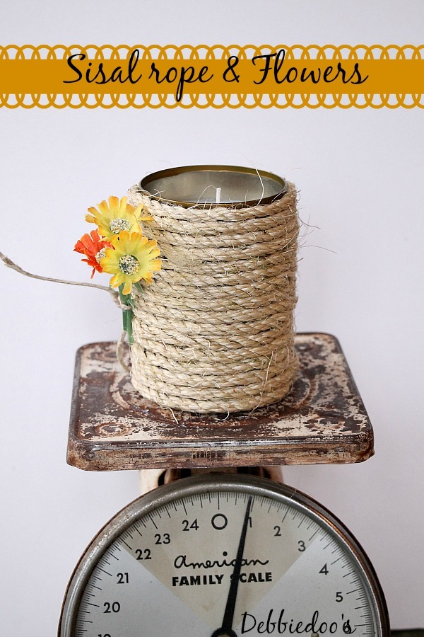 sisal rope and flower can soy candle
