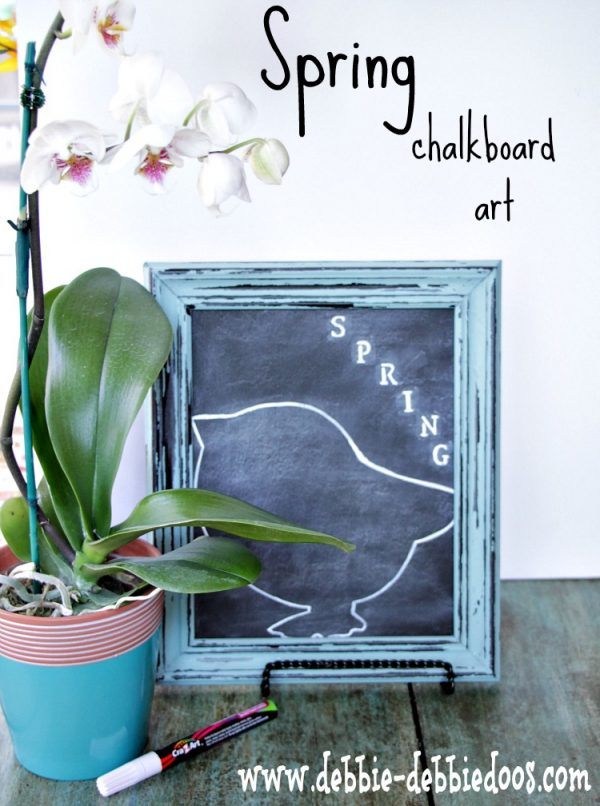 diy spring chalkbord art with dollar tree chick and chalk pen