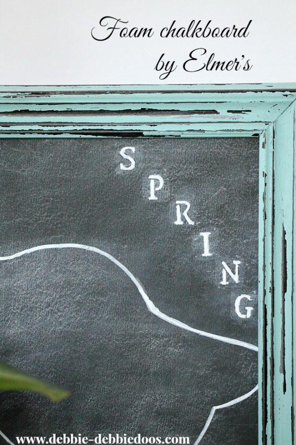 spring chalkbord art with foam chalkboards by Elmer's