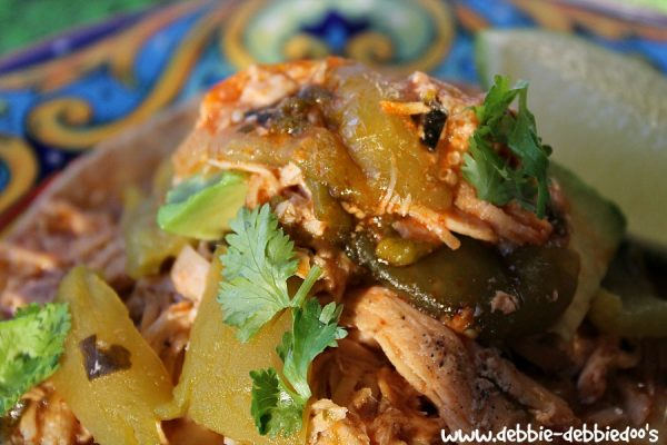 Green chile chicken in the slow cooker