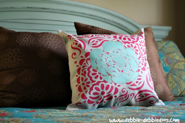 Tulip stenciled pillow