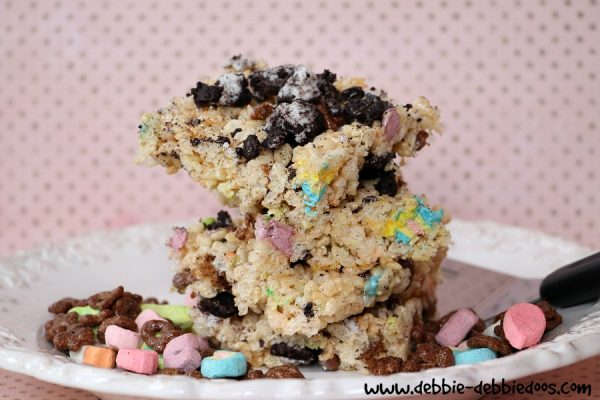 rice krispie treats with a twist of lucky charms