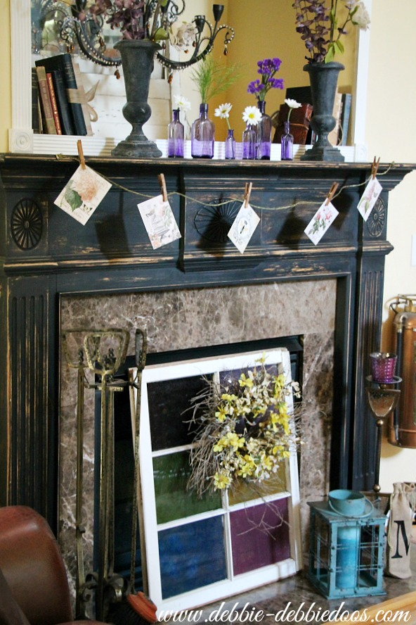 Fireplace with vintage bottles