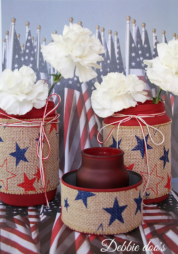 Patriotic table top idea with recycled jars