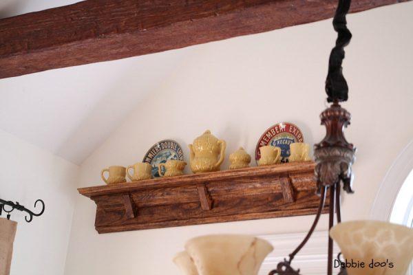 Pine shelf makeover with dark wax