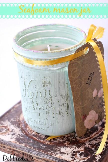 Seafoam soy mason jar candle
