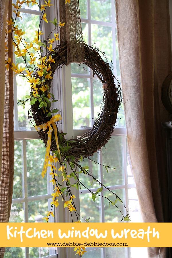 kitchen window wreath for summer