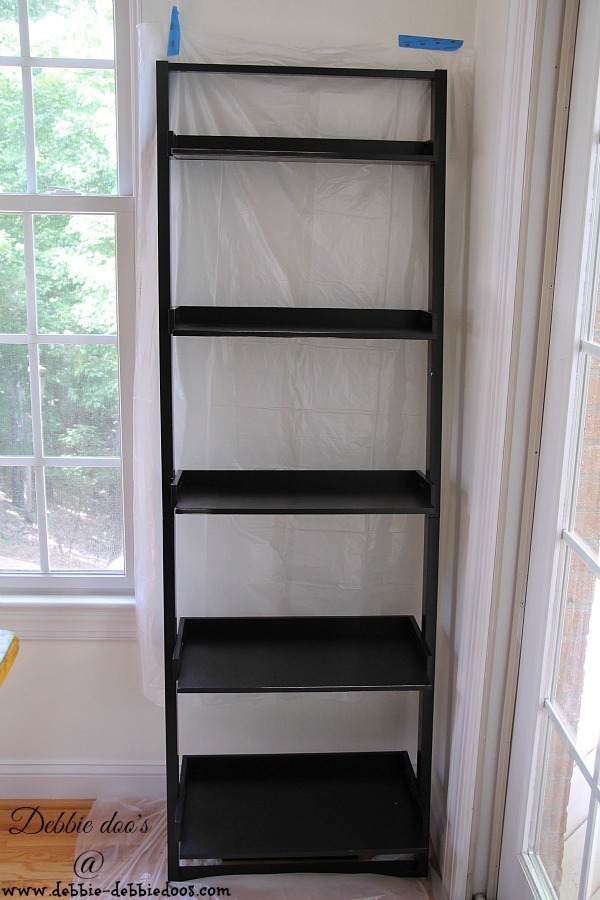Before and after ladder shelf makeover