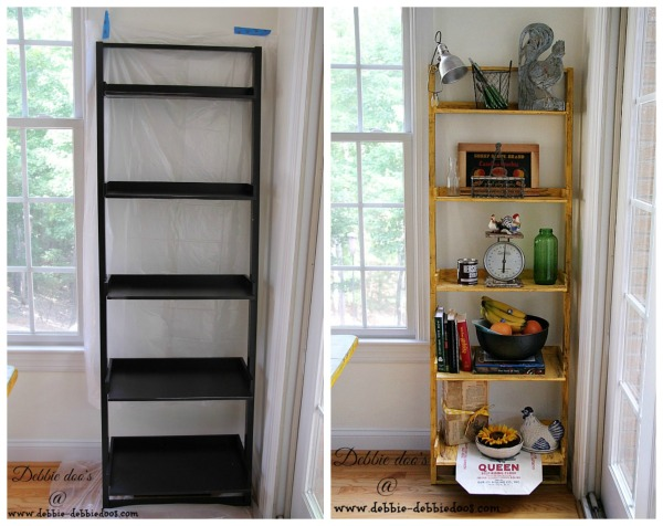 Before and after of kitchen ladder shelf with Kilz hide-all
