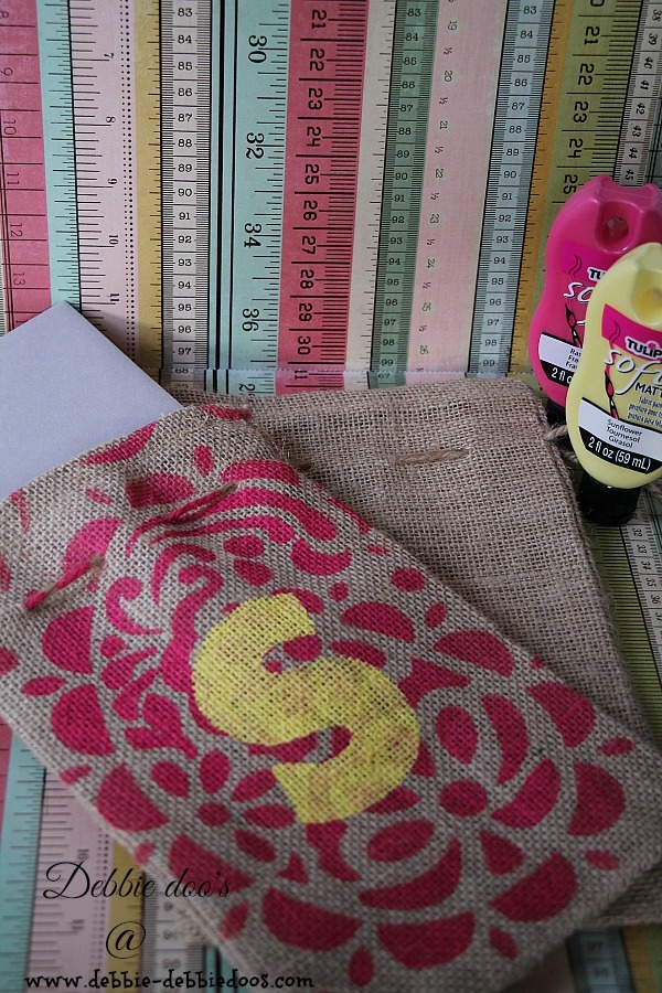 Burlap gift bag stenciled